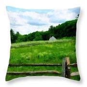 Field Near Weathered Barn Throw Pillow