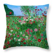 Field Of Cosmos Throw Pillow