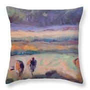 Field Of Crane Throw Pillow