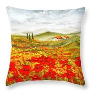 Field Of Dreams - Poppy Field Paintings Throw Pillow