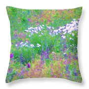 Field Of Flowers In Nature Throw Pillow