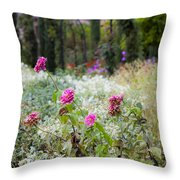 Field Of Flowers On A Rainy Day Throw Pillow