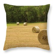 Field Of Freshly Baled Round Hay Bales Throw Pillow
