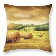 Field Of Freshly Bales Of Hay With Beautiful Sunset Throw Pillow by Sandra Cunningham