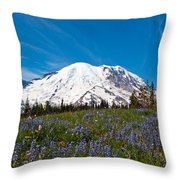 Field Of Lupines And Rainier Throw Pillow