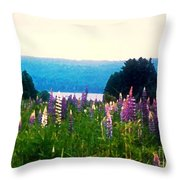 Field Of Lupines Throw Pillow