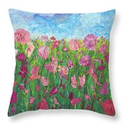 Field Of Pink For The Ladies Throw Pillow
