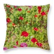 Field Of Poppies Digital Art Prints Throw Pillow