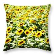 Field Of Sunflowers Throw Pillow