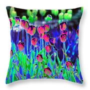 Field Of Tulips - Photopower 1496 Throw Pillow