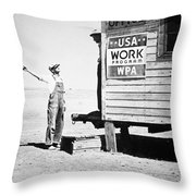 Field Office Of The Wpa Government Agency Throw Pillow by American Photographer