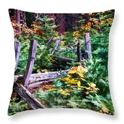 Fields And Fences Of Wawona In Yosemite National Park Throw Pillow