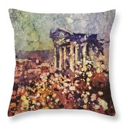 Fields Of Flower- And Roman Temple Throw Pillow