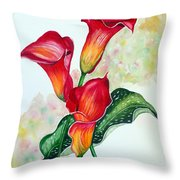 Fiery Callas Throw Pillow