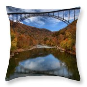 Fiery Colors At New River Gorge Bridge Throw Pillow