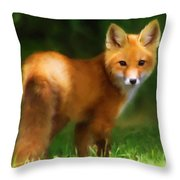 Fiery Fox Throw Pillow by Christina Rollo