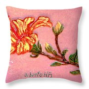 Fiery Hibiscus Throw Pillow