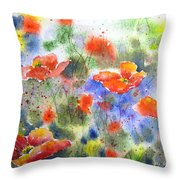 Fiery Poppies Throw Pillow