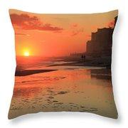 Fiery Seashore Throw Pillow