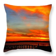 Fiery Skies And Silhouetted Pier Throw Pillow by Stephen Melcher