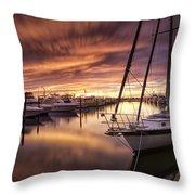 Fiery Sunset At Stuart Marina Throw Pillow