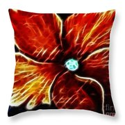 Fiery Violet Expressive Brushstrokes Throw Pillow