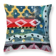 Fiesta 4- Colorful Pattern Painting Throw Pillow