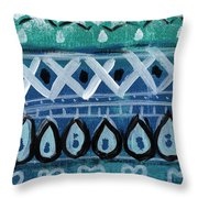 Fiesta In Blue- Colorful Pattern Painting Throw Pillow by Linda Woods