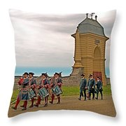 Fife And Drum Parade In Louisbourg Living History Museum-1744-ns Throw Pillow