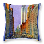 Fifth Avenue  New York Travel Poster Throw Pillow