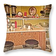 Fifty's Lunch Counter  Nostalgic Throw Pillow