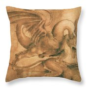 Fight Between A Dragon And A Lion Throw Pillow