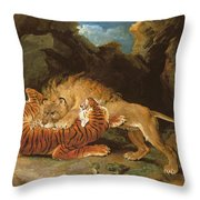 Fight Between A Lion And A Tiger, 1797 Throw Pillow by James Ward