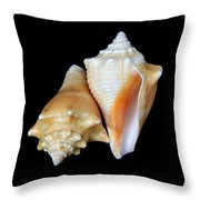 Fighting Conch Seashells Throw Pillow