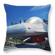 Fighting Falcon At Interpid Museum Throw Pillow