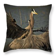 Fighting Great Blue Herons Throw Pillow