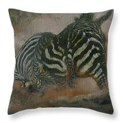 Fighting Zebras Throw Pillow