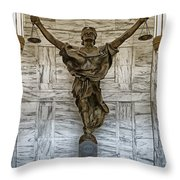 Figure Of Justice Throw Pillow