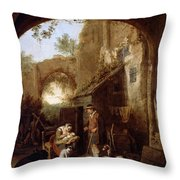 Figures In The Courtyard Of An Old Building Throw Pillow