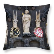 Figures On Staromestska Vez In Prague Throw Pillow