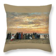 Figures On The Beach In Trouville Throw Pillow