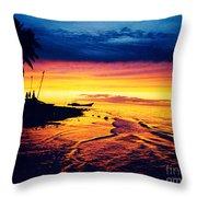 Fiji Paradise Sunset Throw Pillow
