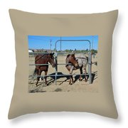 Fillies At The Gate Throw Pillow