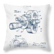 Film Camera Patent Drawing From 1938 - Blue Ink Throw Pillow