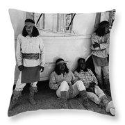 Film Homage Apache Extras The High Chaparral 1969 Old Tucson Arizona 1969-2008  Throw Pillow