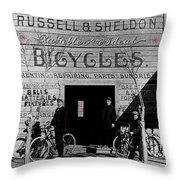 Film Homage Butch Cassidy 1969 Russell And Sheldon Bicycles C.1895 Tucson Arizona 2008 Throw Pillow