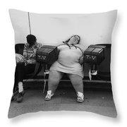 Film Noir Humphrey Bogart Laureen Bacall Dark Passage 1947  Bus Terminal St. Paul Mn 1979 Throw Pillow