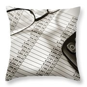 Financial Spreadsheet With Calculator And Glasses Throw Pillow