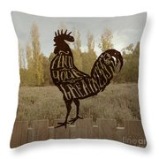 Find Your Greatness Rooster Chicken Fowl Vintage Typography Throw Pillow