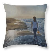 Finding Her Treasure Throw Pillow